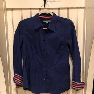 BODEN ROYAL BLUE BLOUSE WITH STRIPED CUFFS